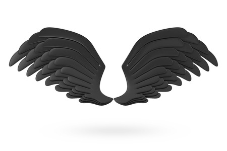 3d dove: Darkness Black Wings isolated on white background Stock Photo