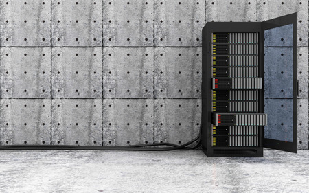 renderfarm: Cloud Computing Storage Data and Information Concept. Opened Modern Server Rack with a Heavy Wire Cables in a Concrete Room Interior. 3D Rendering Stock Photo