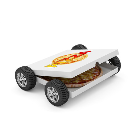3d pizza: Hot and Fresh Pizza Fast Delivery Concept. Pizza Box with Fresh 3D Pizza Inside on Wheels isolated on white background Stock Photo