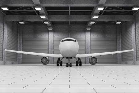 モダンな格納庫の中の現代の航空機と 3 D インテリア。自分のデザインの旅客機。3 D レンダリング