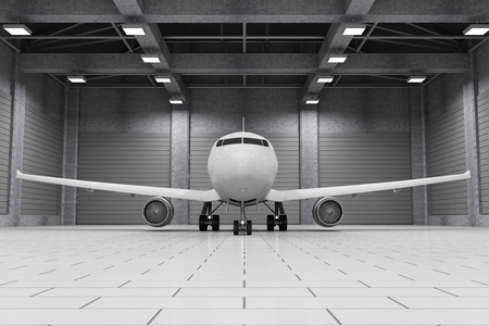 Modern Hangar 3D Interior with Modern Airplane Inside. Passenger Airplane of My Own Design. 3D Rendering Stock Photo