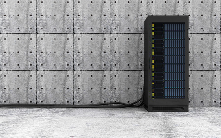 rack: Cloud Computing Storage Data and Information Concept. Modern Server Rack with a Heavy Wire Cables in a Concrete Room Interior. 3D Rendering