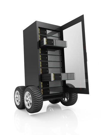 Highspeed Server Concept. Cloud Computing Storage Information Concept. Modern Server Rack with open Door on Wheels isolated on white background