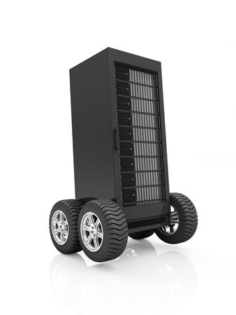 renderfarm: Highspeed Server Concept. Cloud Computing Storage Information Concept. Modern Server Rack on Wheels isolated on white background Stock Photo