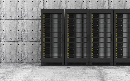 Cloud Computing Storage Data and Information Concept. Modern Servers Rack in a Concrete Room Interior. 3D Rendering