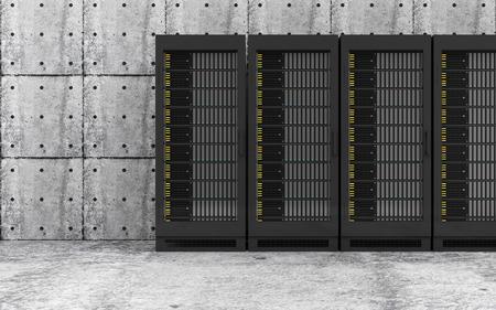 renderfarm: Cloud Computing Storage Data and Information Concept. Modern Servers Rack in a Concrete Room Interior. 3D Rendering