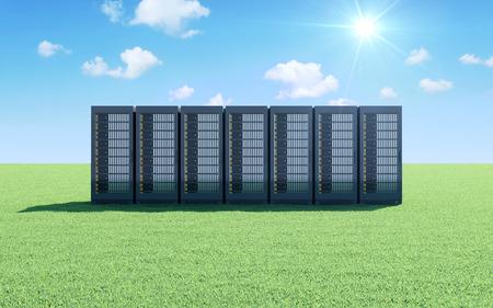 クラウド ストレージについての概念。グリーンと美しい風景にモダンなサーバー ラックが青い空に太陽の光と流れる雲を草します。 写真素材