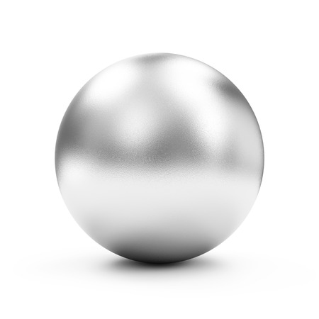 Shiny Big Silver Sphere or Button isolated on white background