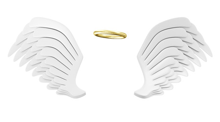 3d dove: Angel White Wings with Golden Nimbus isolated on white background Stock Photo