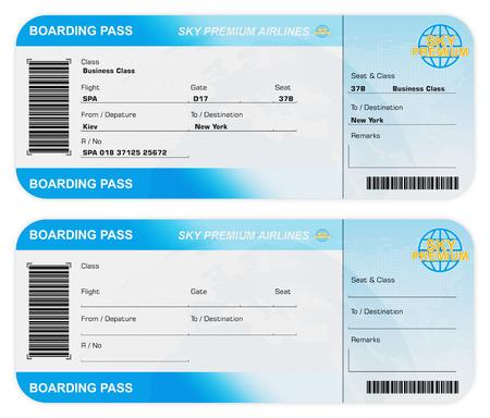 Vooraanzicht van Airline Boarding Pass Tickets op een witte achtergrond. Mijn eigen ontwerp