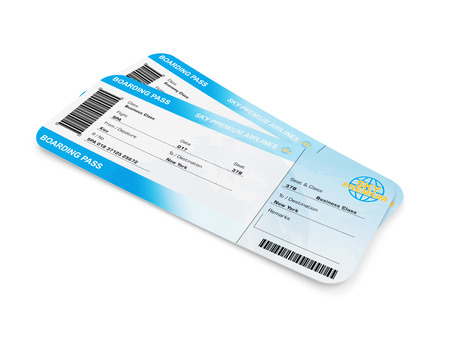 Airline Boarding Pass Tickets isolated on white background. Tickets of My Own Design photo
