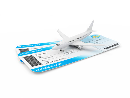 Air Travel Concept. Airline Boarding Pass Tickets with Modern Passenger Airplane isolated on white background. Passenger Airplane and Tickets of My Own Design Stock Photo