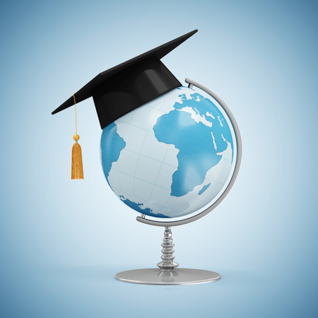 student travel: Education Concept. Desk Globe with Graduation Cap on blue gradient background Elements of this image furnished by NASA