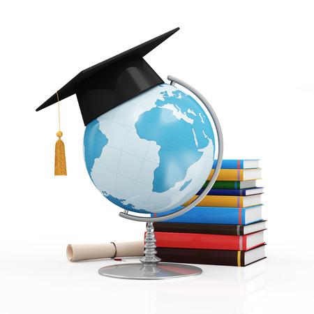 estudiando: Concepto de educaci�n. Escritorio Globo con casquillo de la graduaci�n Diploma y libros aislados en el fondo blanco elementos de esta imagen proporcionada por la NASA Foto de archivo