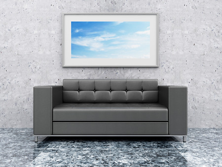 concrete room: Modern Hall 3D Interior with Black Leather Sofa and Picture on the Concrete Wall. 3D Rendering