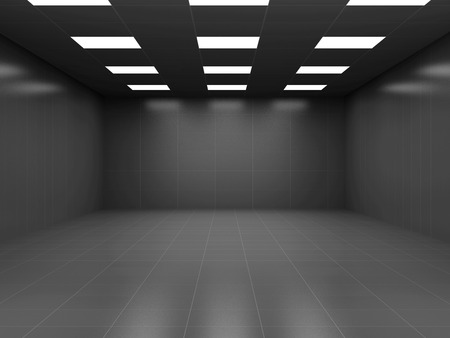 Modern Black Empty Business Room 3D Interior