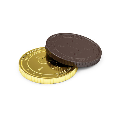 coins: Business Financial and Sweet Candy Food Concept. Golden Coin with Chocolate Coin Isolated on white background