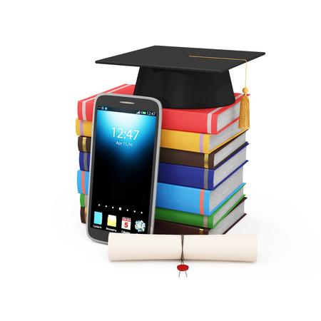 diploma: Tecnología Educativa electrónico o Concepto del aprendizaje electrónico. Teléfono inteligente moderno con el casquillo de la graduación, Diploma y la pila de libros de colores aislados sobre fondo blanco Foto de archivo