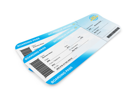 pass on: Airline Boarding Pass Tickets isolated on white background. Tickets of My Own Design Stock Photo