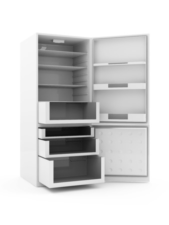 Modern Refrigerator with Opened Doors isolated on white background Stock Photo