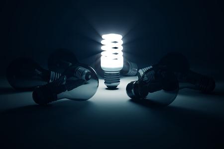 Verlichte fluorescerende lamp Permanent uit de andere gloeilampen. Individualiteit conceptuele achtergrond
