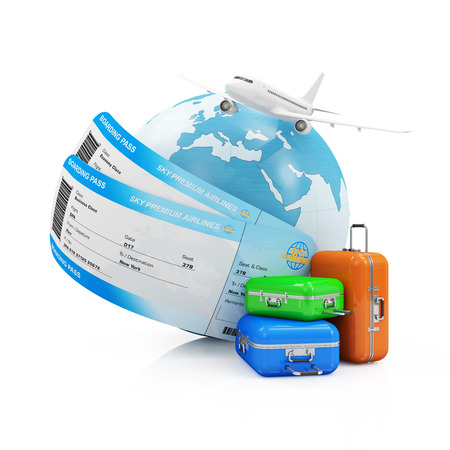 flight ticket: Air Travel Concept. Earth Globe with Airline Boarding Pass Tickets, luggage and Flying Passenger Airplane isolated on white background. Stock Photo