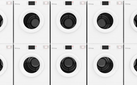 laundry concept: Close-up View at Row of Modern Washing Machines Abstract Background. Laundry Concept