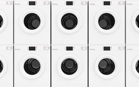 lavanderia: Ver de cerca a la fila de modernos Lavadoras Resumen Antecedentes. Concepto de lavandería