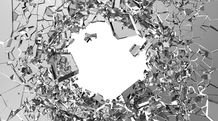 window hole: Abstract Illustration of Broken Glass into Pieces isolated on white background with place for Your text Stock Photo
