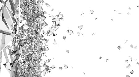 broken: Abstract Illustration of Broken Glass into Pieces isolated on white background Stock Photo