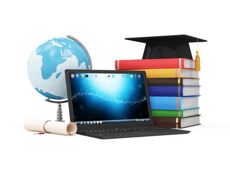 교육: 전자 교육 기술 또는 e 러닝 개념입니다. 데스크 글로브 졸업 모자 디플로마와 다채로운 책의 스택 현대 노트북입니다. NASA가 제공 한이 이미지의 요소