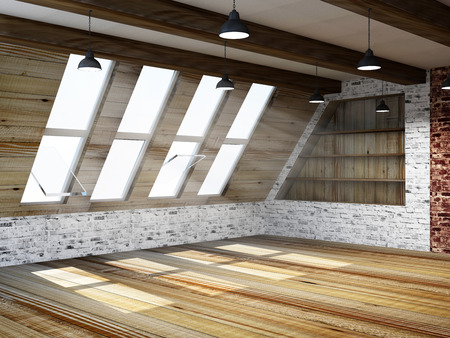 mansard: Modern Empty Mansard Room Interior with Large Windows Stock Photo