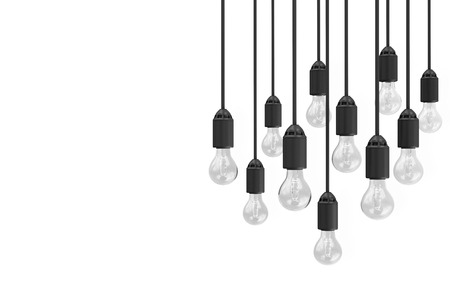 Modern Hanging Light Bulbs isolated on white background with place for Your Text Banque d'images