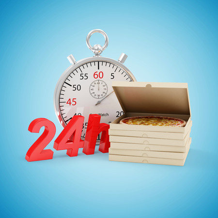 overnight delivery: Fast Delivery Pizza Concept. Stack of Pizza Boxes with Stopwatch and 24h Symbol on blue gradient background