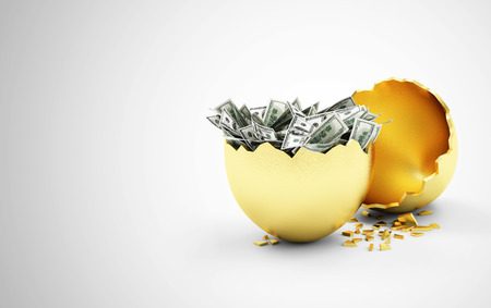 Business Financial Success or Wealth and Riches Concept. Broken Big Golden Egg with Heap of Dollar Bills Inside on gradient background