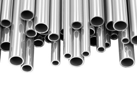 Staal Metal Tubes op een witte achtergrond met plaats voor uw tekst Stockfoto