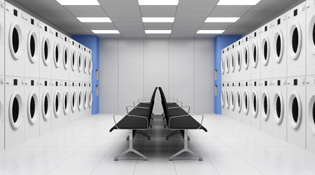Modern Laundry 3D Interior with Washing Machines and Seats