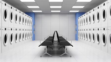 lavanderia: Moderno lavandería 3D Interior con Lavadoras y Asientos Foto de archivo