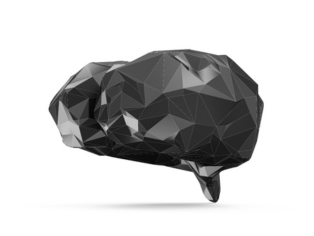 Science Healthcare and Medical Concept. Abstract Black Fractal Geometric Polygonal or Lowpoly Style 3D Human Brain isolated on white background photo