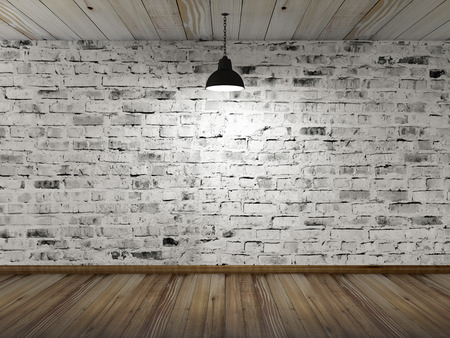 Empty 3D Room Interior with White Grunge Brick Wall Wooden Floor and Hanging Black Lamp