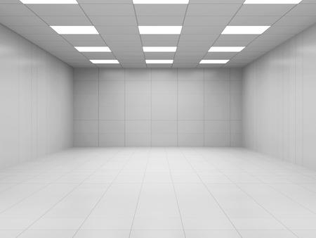 モダンな白い空のビジネス ルーム 3 D インテリア