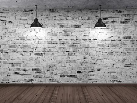 白グランジ レンガ壁木製床黒ランプをぶら下げと空の 3 D ルーム インテリア