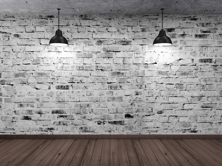 Empty 3D Room Interior with White Grunge Brick Wall Wooden Floor and Hanging Black Lamps