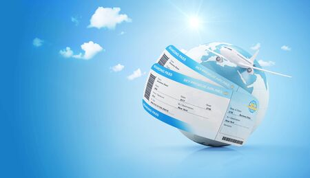 Air Travel Concept. Earth Globe with Airline Boarding Pass Tickets and Flying Passenger Airplane on gradient background with clouds and sun. Elements of this image furnished by NASA