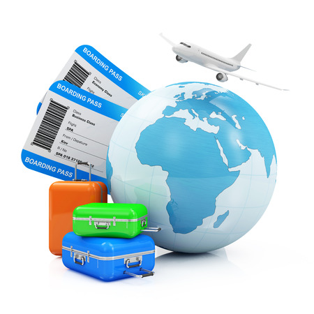 Air Travel and Vacation Concept. Earth Globe with Airline Boarding Pass Tickets Luggage and Flying Passenger Airplane isolated on white background.