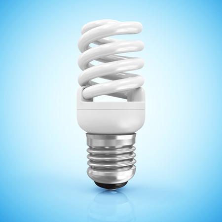 metal light bulb icon: Modern Fluorescent Light Bulb on blue gradient background Stock Photo