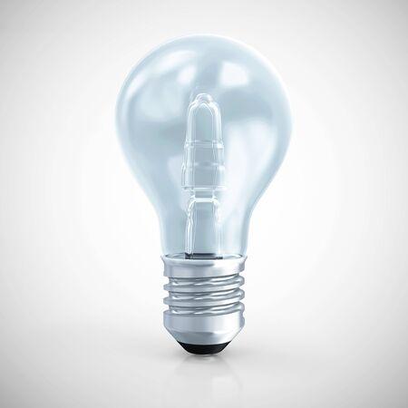 metal light bulb icon: Modern Blue Light Bulb on gradient background