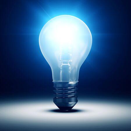 metal light bulb icon: Illuminated Light Bulb on blue dark background