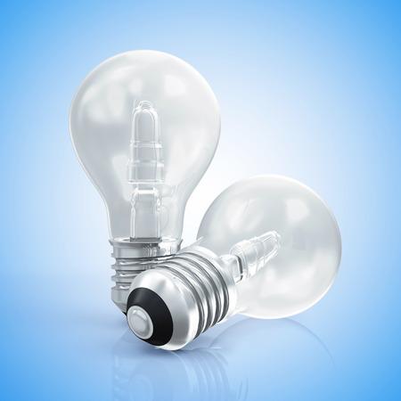 metal light bulb icon: Modern Light Bulbs on gradient blue background Stock Photo