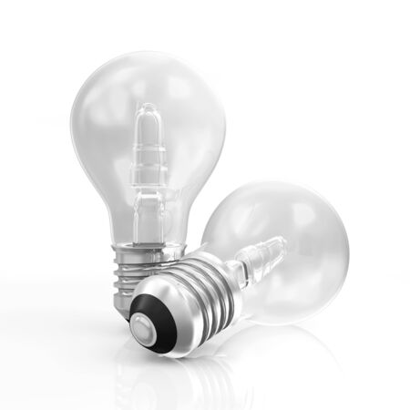 metal light bulb icon: Modern Light Bulbs isolated on white background